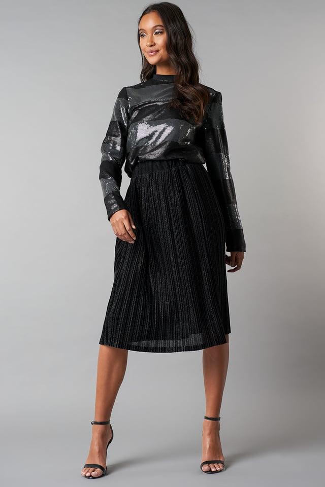 Sparkling Pleated Midi Skirt Black