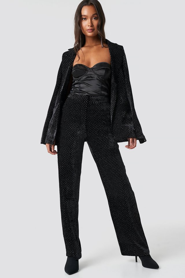 Sparkling Velvet Pants Black