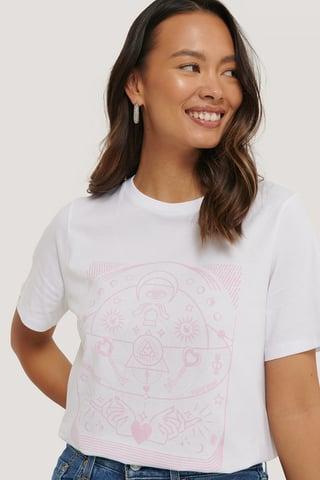 White Økologisk T-shirt Med Print