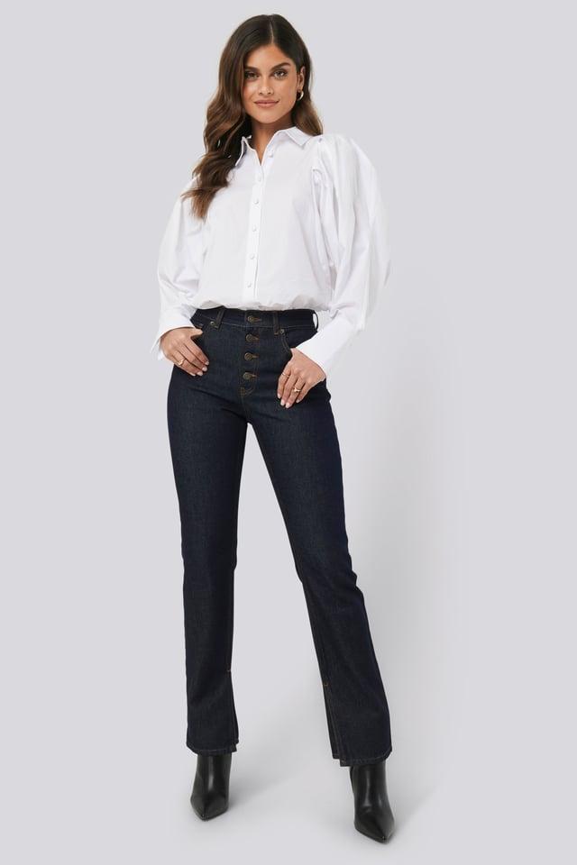 Split Hem Straight Fit Jeans Indigo Blue