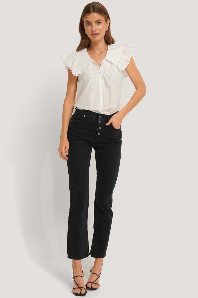 Split Hem Straight Fit Jeans Washed Black