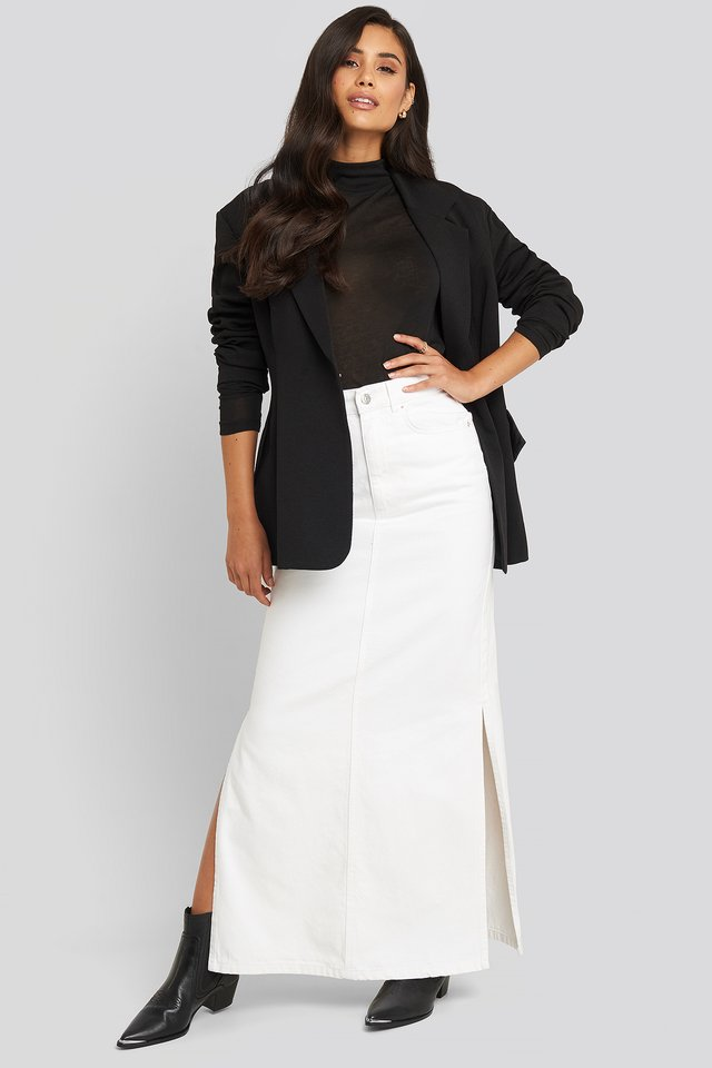 Side Split Maxi Denim Skirt White