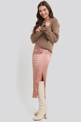 Dark Pink Split Seam Satin Midi Skirt