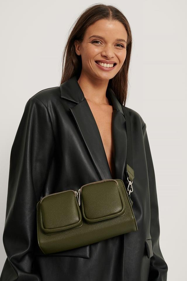 Sporty Compartment Shoulder Bag Dark Green