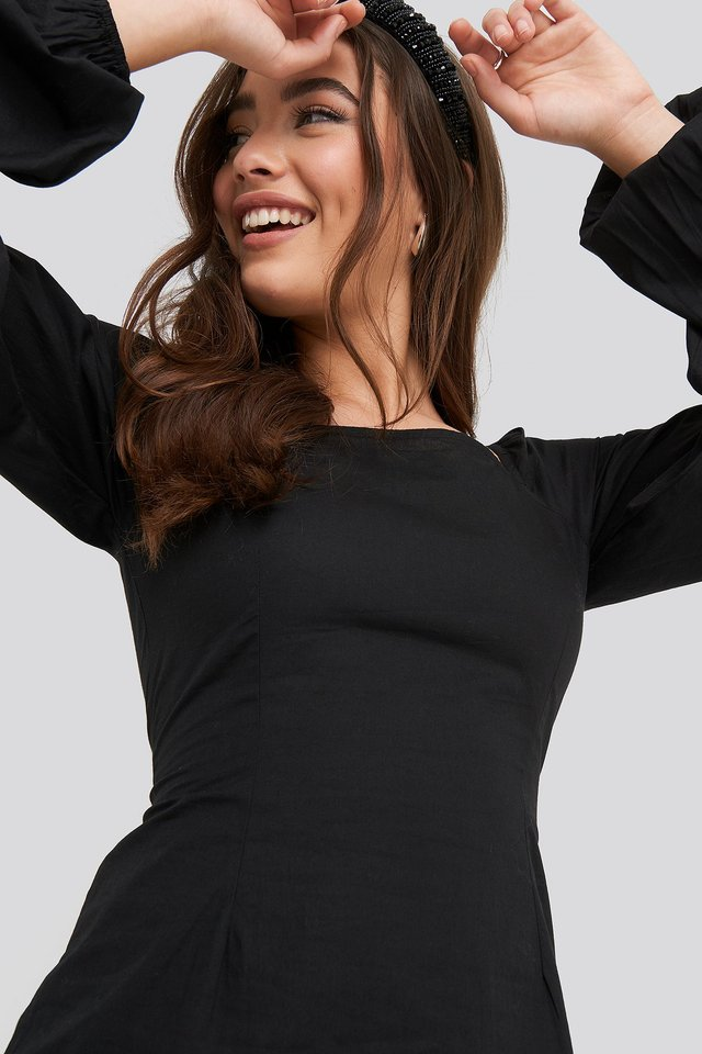 Square Neck Balloon Sleeve Dress Black