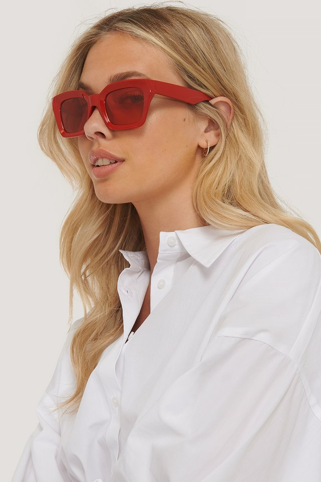 Square Frame Sunglasses Dusty Red
