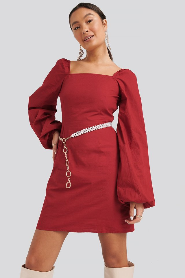 Square Neck Balloon Sleeve Dress Dark Red