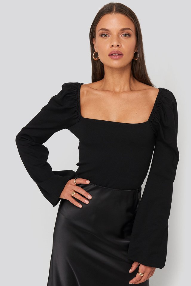 Square Neck Balloon Sleeve Top Black