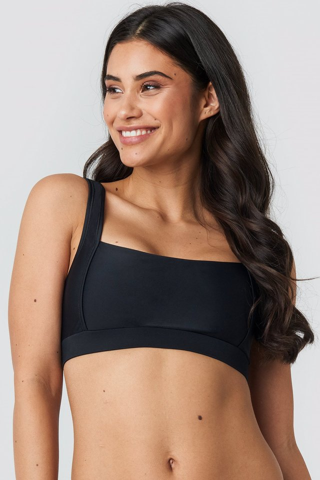 Black Square Neck Bandeau Top