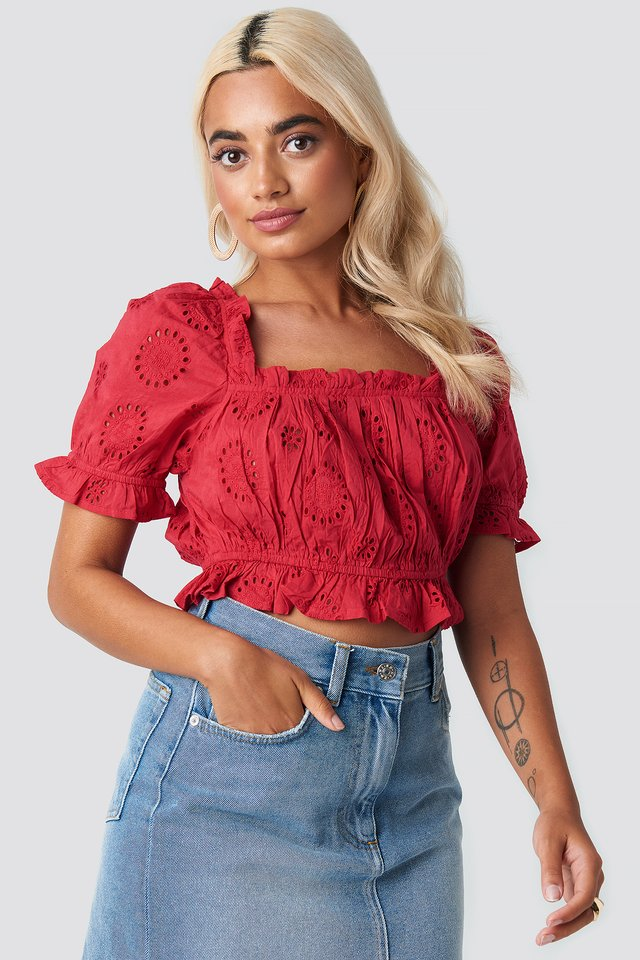 Square Neck Crochet Crop Top Red