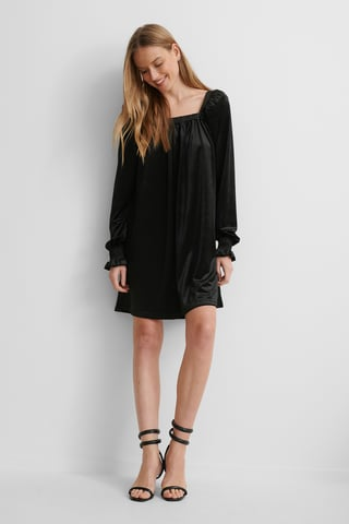Black Square Neck Gathered Dress