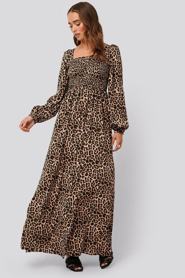 Square Neck Leo Maxi Dress Leopard