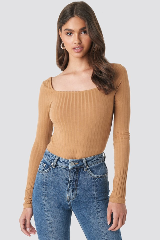 Square Neck Long Sleeve Top Tan