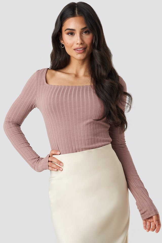 Square Neck Long Sleeve Top Dusty Dark Pink