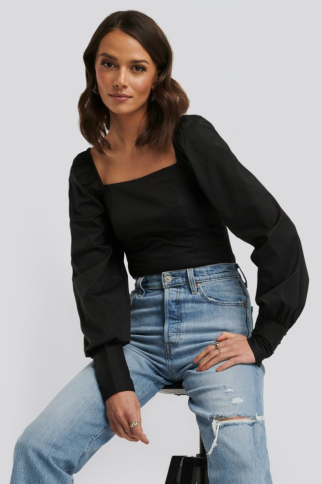 Square Neck Puffy Sleeve Blouse Black
