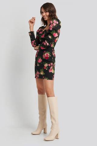 Flower Print Square Neck Puffy Sleeve Dress