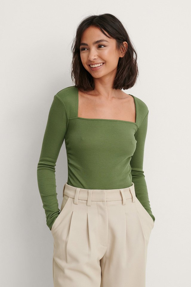 Green Square Neck Rouched Detail Top