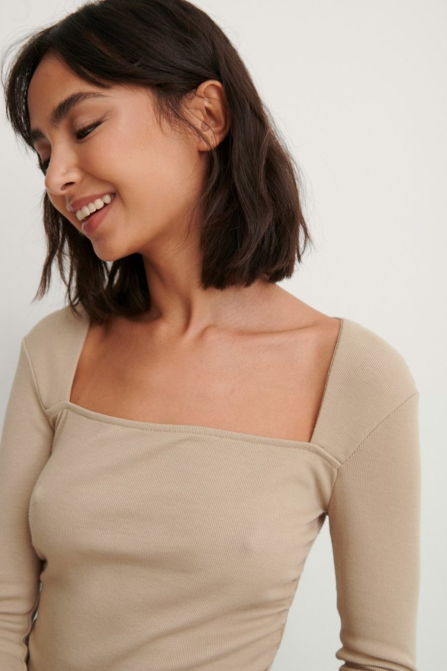 Dark Beige Square Neck Rouched Detail Top
