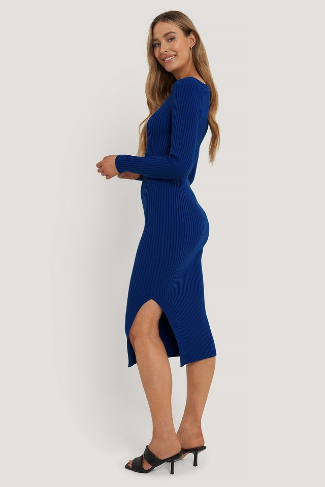 Square Neck Side Slit Midi Dress Blue