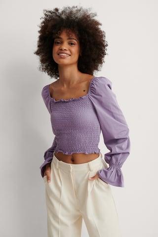 Purple Top Con Scollo Quadrato E Dettaglio Smock