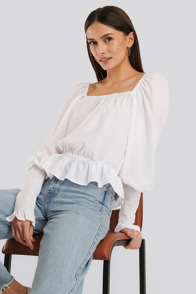 Square Neck Smock Sleeve Blouse White