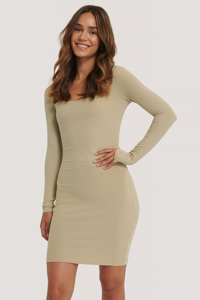 Square Neckline Rib Dress Beige