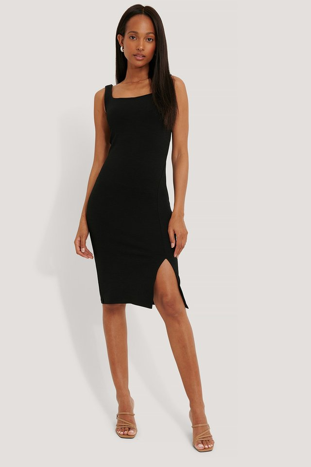 Black Square Neckline Slit Dress