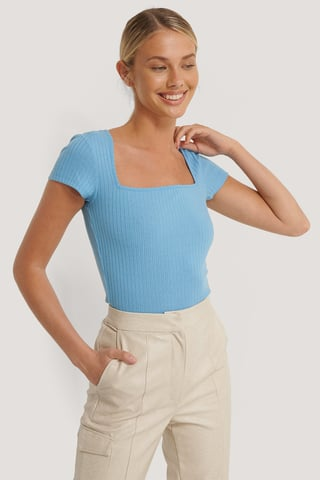 Blue Square Short Sleeve Top