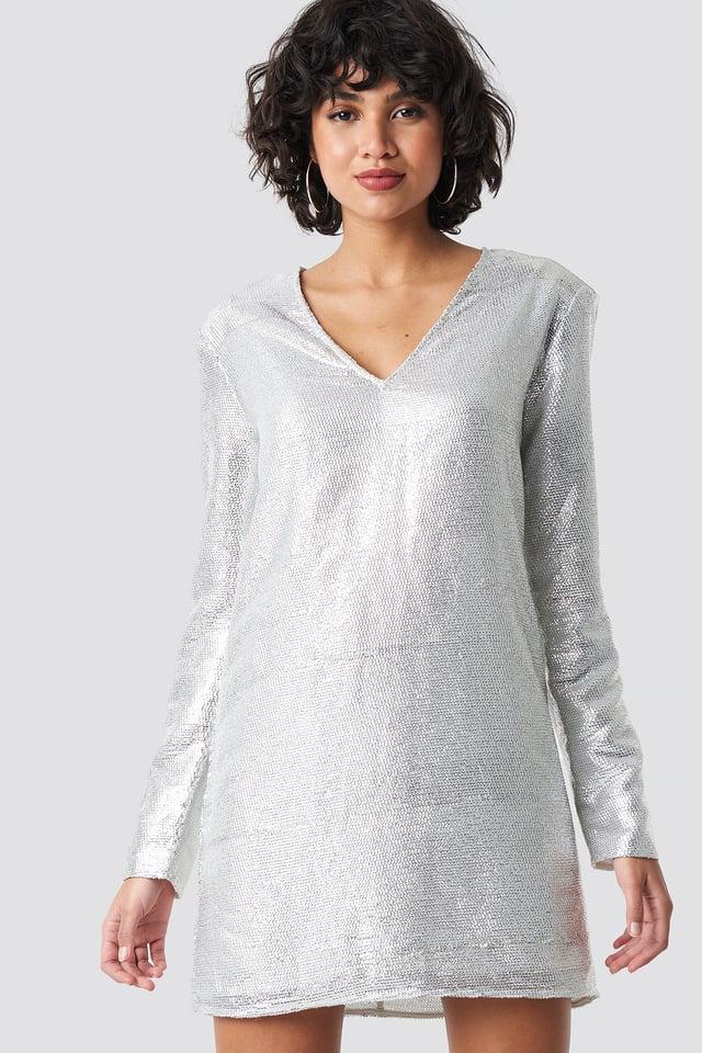 Square Shoulder Sequins Dress Silver