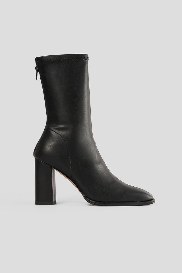 Black Boots Med Fyrkantig Tå