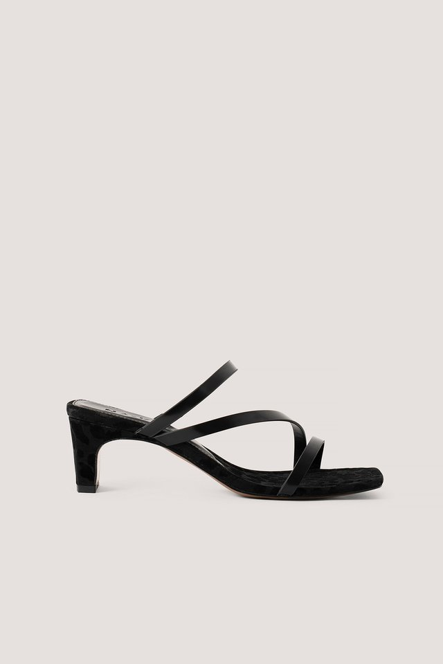 Black Squared Heel Strappy Sandals