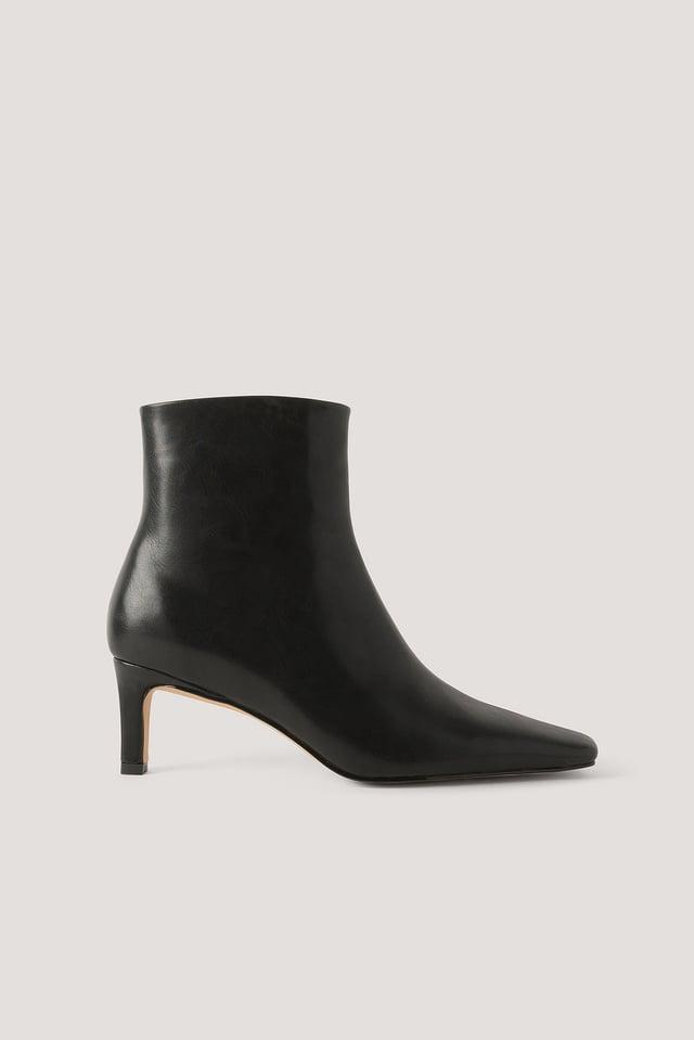Black Ankelstøvler Med Firkantet Lang Tå