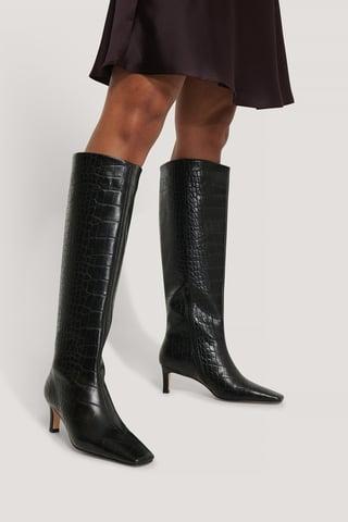 Black Støvler Med Firkantet Lang Tå Og Skaft