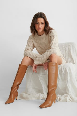 Brown Squared Long Toe Shaft Boots