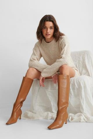Brown Støvler Med Firkantet Lang Tå Og Skaft