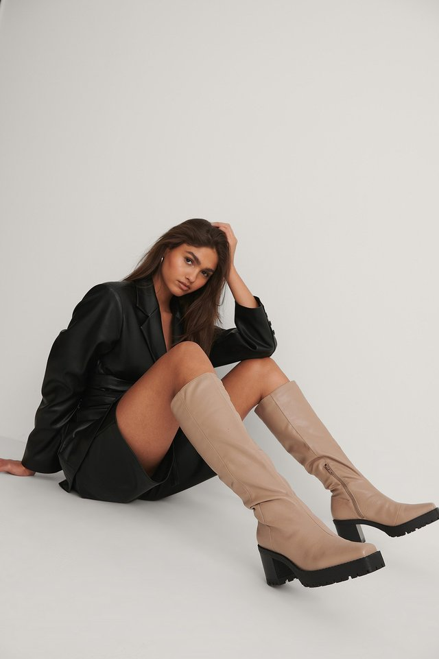 Taupe Squared Profile Sole Shaft Boots