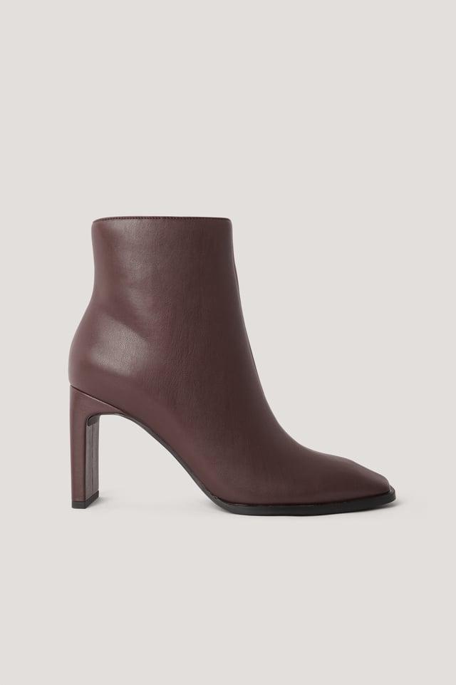 Boots Med Fyrkantig, Lutande Tå Chocolate