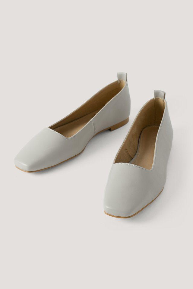 Squared Toe Ballerinas Light Grey