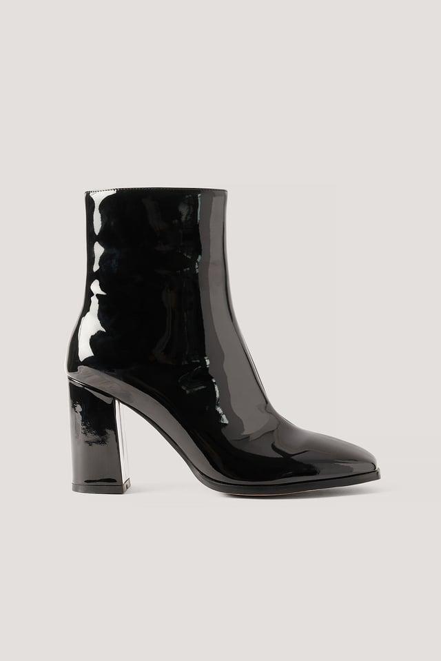 Black Lakleren Laarzen Met Vierkante Neus