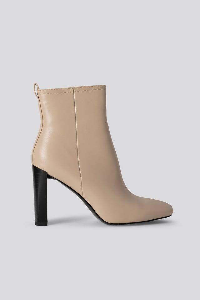Nude Squared Toe Slim Heel Boots