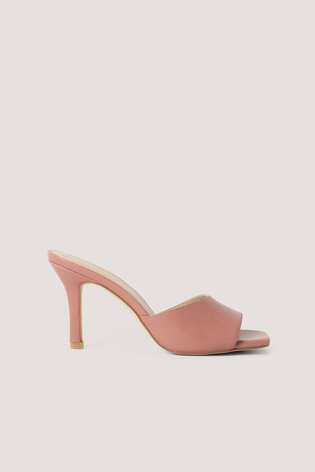 Squared Toe Stiletto Mules Dusty Pink