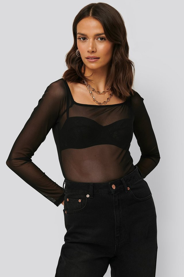 Square Neck Mesh Top Black