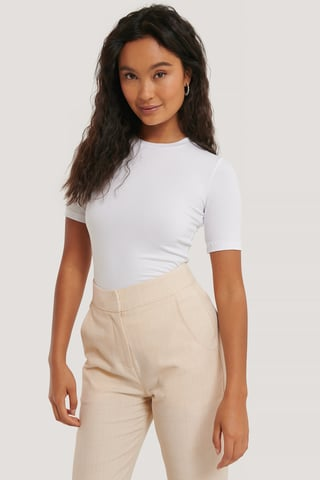 White T-Shirt I Tencel Med Rund Halsringning