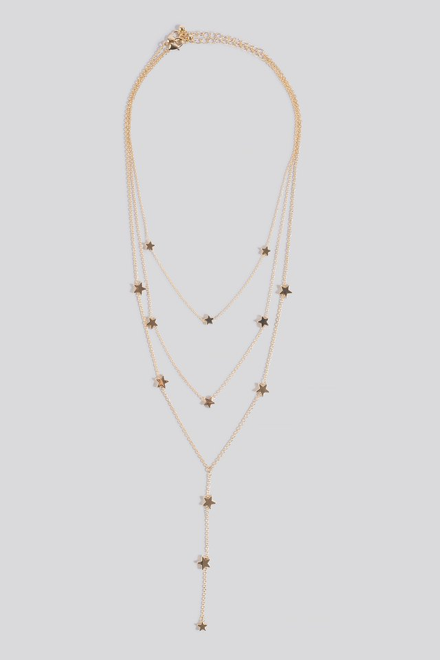 Star Detail Drop Chain Necklace Gold
