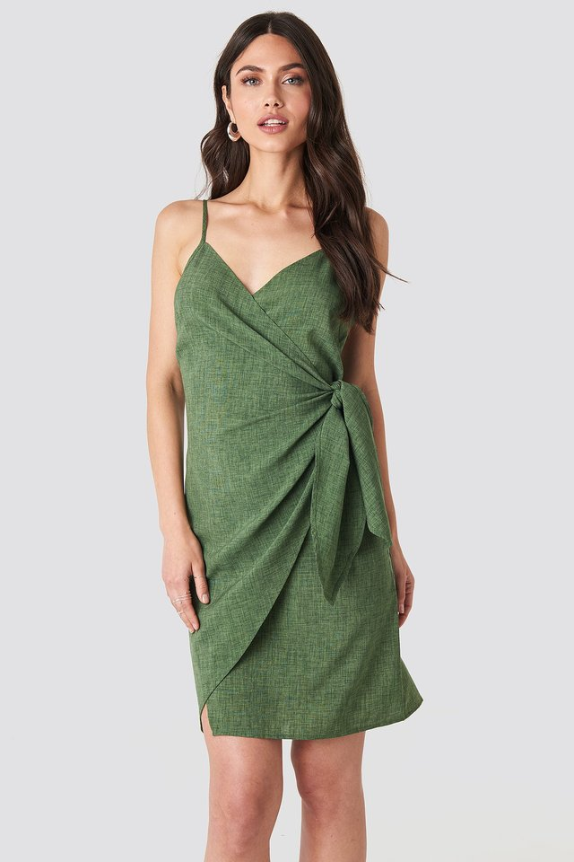 Strap Overlap Mini Dress Green