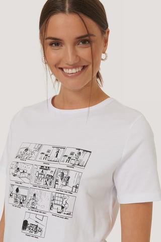 White T-Shirt Z Nadrukiem