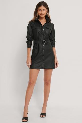 Black Vestido Mini Con Cinturón Efecto Piel