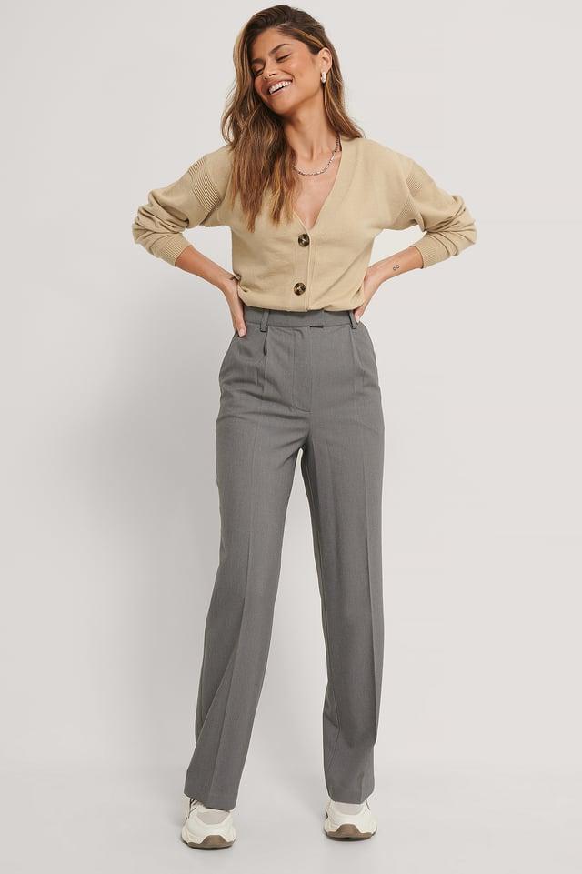 Anzughose Mit Falten Vorne Dark Grey