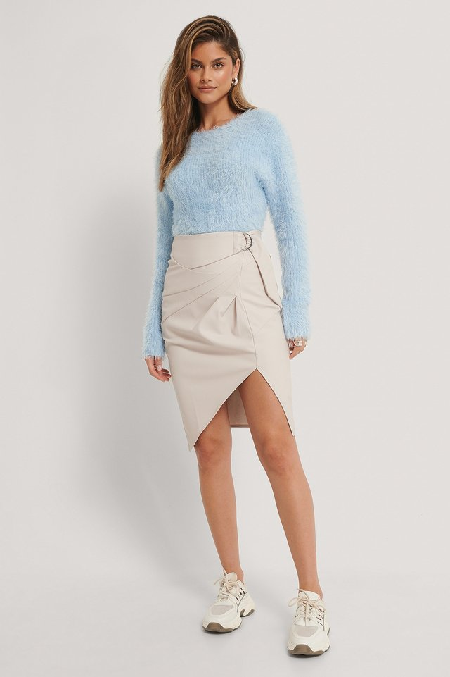 Belted Pu Skirt Grey