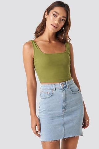 Light Blue Stepped Hem Mini Skirt